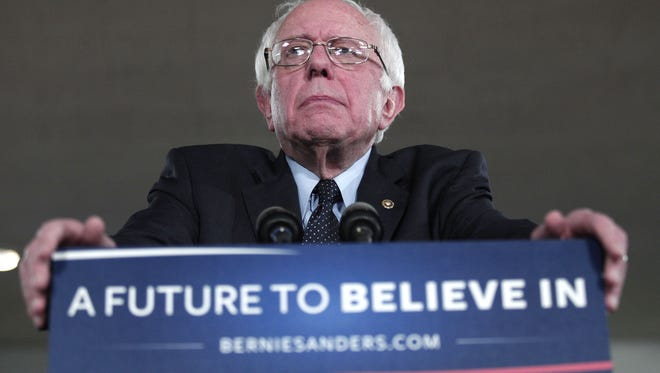 Bernie Sanders speaks at a campaign rally in Dearborn, Mich.