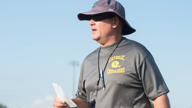 Head coach Greg Seibert during Catholic HS football practice in Pensacola on Wednesday, September 21, 2016.