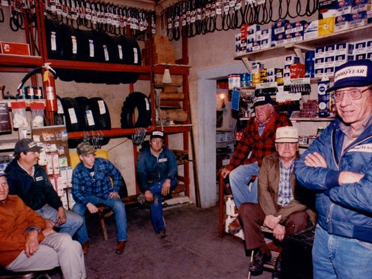 Townspeople from Rowena hanging out at the Rowena Gas Station in 1988.