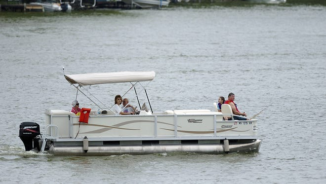 A pontoon boat on Lake Sherwood in the town of Rome.