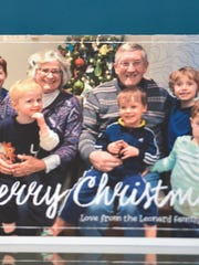 The Christmas card sent out by Eugene and Carol Leonard of Falls Church, Va, with their six grandchildren two months before Carol died of sepsis after thyroid surgery at MedStar Washington Hospital in February 2017.