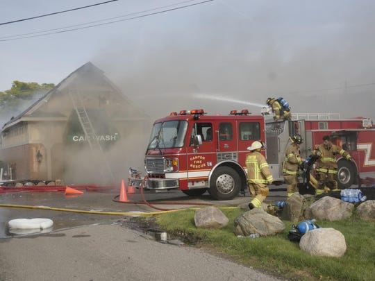 Canton firefighters were using foam and water on the Canton City Car Wash fire.