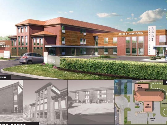 Architectural renderings of Harmony House's new location, formerly an America's Best Value Inn. When complete, the new facility will expand the shelter's capacity from the current 110 to 160 beds.