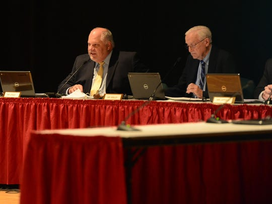 Indian River Superintendent Mark Steele (left) spoke