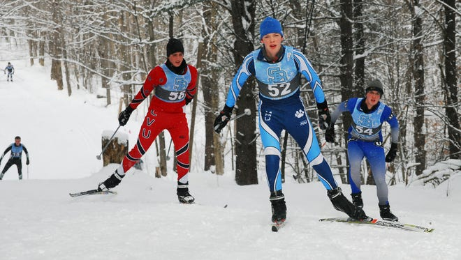 Nordic skiers compete in the boys skate portion of Saturday's continuous pursuit race at Sleepy Hollow Inn, Ski and Bike Center in Huntington.