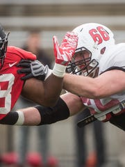 Steven Bell, one of Ball State's offensive linemen,