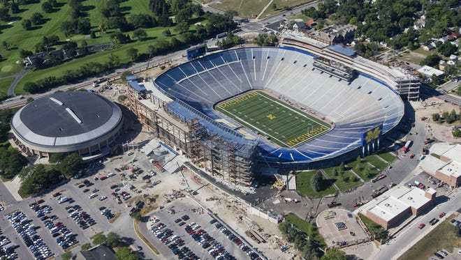 "An aerial view of Michigan Stadium is seen from the ""Spirit of Goodyear"" airship."