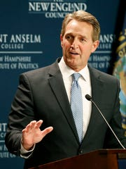 Sen. Jeff Flake, R-Ariz., speaks March 16, 2018, at