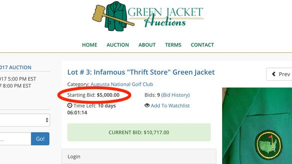 Masters Green Jacket is on sale for thousands