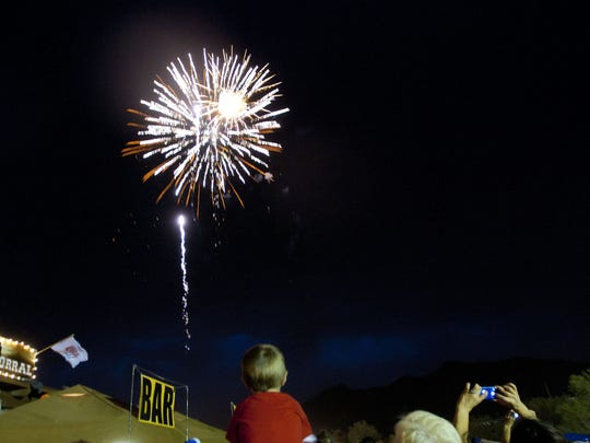 Fireworks light up the night sky over Harold's Corral