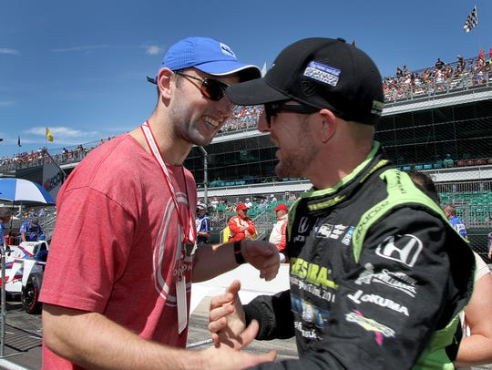 Colts quarterback Andrew Luck, here greeting IndyCar
