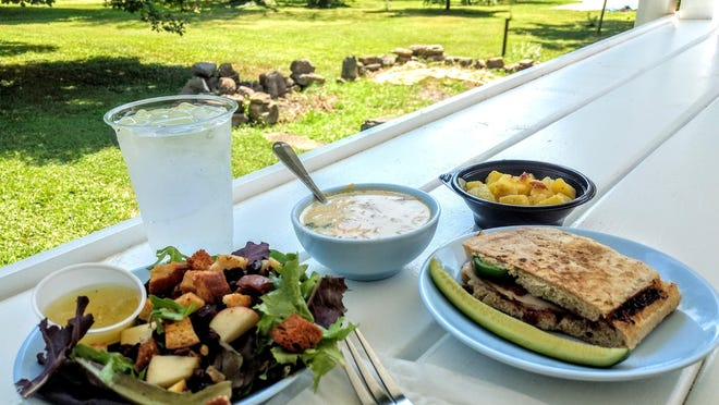 Lunch on the back porch at Tin Shop Coffee House included (from left) apple pecan cranberry salad, loaded potato soup, turkey and bacon panini, and German potato salad.
