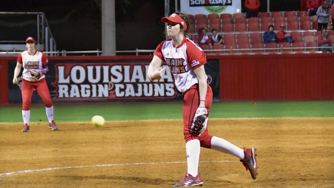 UL's Summer Ellyson unleashes a pitch in the seventh inning of her historic 20-strikeout performance Friday at Lamson Park.