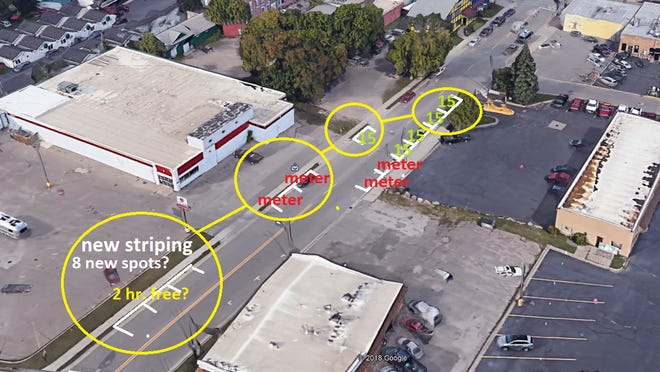 A map of the proposed parking setup on Osborn Boulevard for The Market on Osborn, as proposed by Twardy and Knepper.