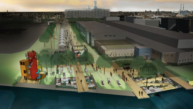 Plans for a public plaza overlooking Milwaukee's inner harbor call for an expanded phase that includes a play area and viewing tower.