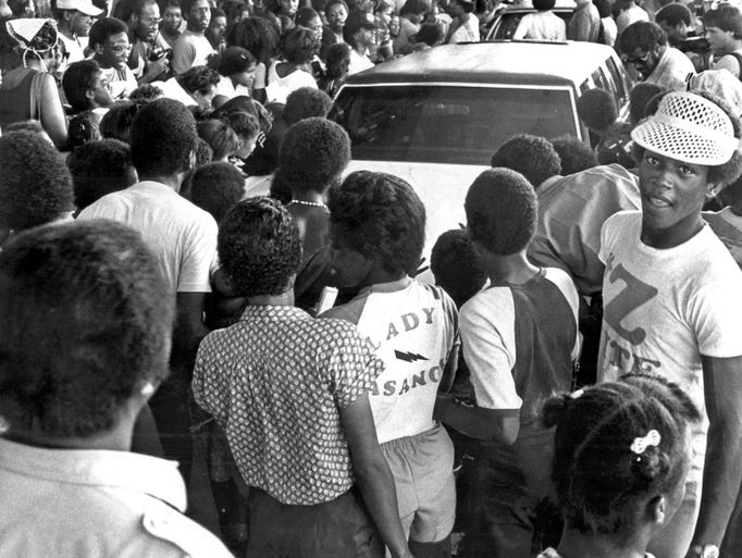 July 7, 1981 - A crowd estimated at 1,500 to 2,000