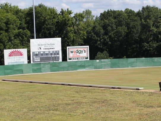 Anderson Memorial Stadium wall before renovation in