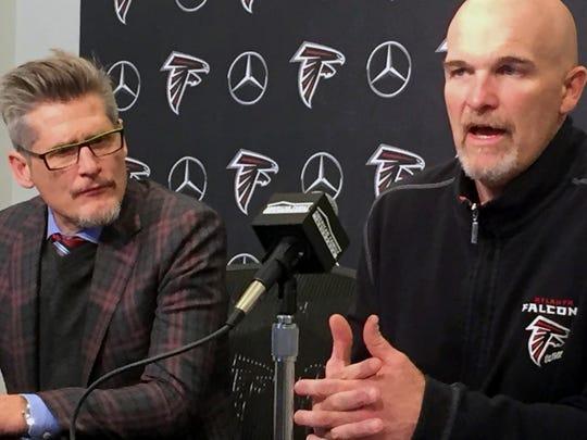Falcons GM Thomas Dimitroff, left, and head coach Dan Quinn speak Jan. 18, 2018 in Flowery Branch, Ga.