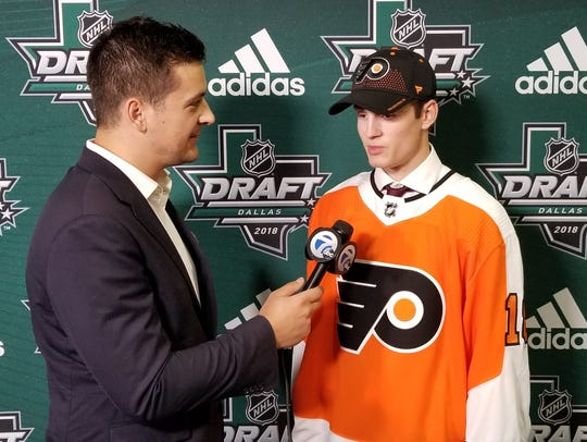 Joel Farabee, just drafted moments earlier by Philadelphia,