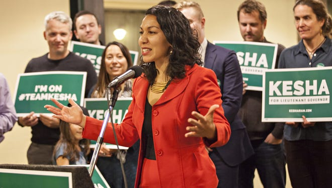 State Rep. Kesha Ram, D-Burlington, launches her campaign for lieutenant governor Monday evening, Oct. 26, 2015, at One Main Street in Burlington.