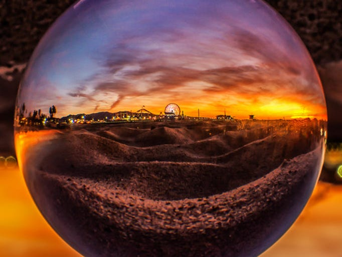 A sunset from Santa Monica Pier as seen through a crystal