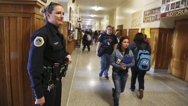 Des Moines police school resource officer Deb Van Velzen at Lincoln High School last year.