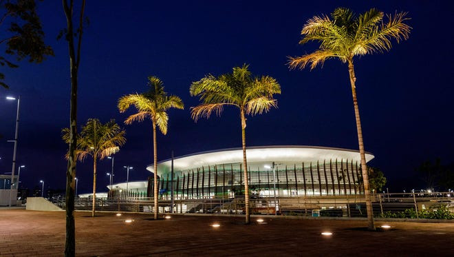View of the Carioca Arena 1, 2, 3 at the Olympic Park in Rio de Janeiro on April 11, 2016.