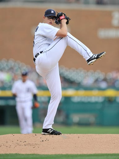 Tigers pitcher Kyle Lobstein works in the first inning