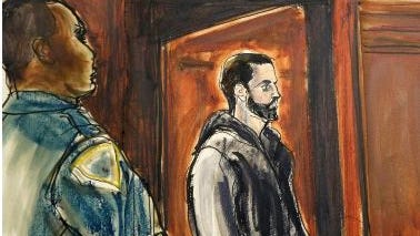 Wojciech Braszczok, right, in criminal court in New York in this Oct. 9, 2013, file court sketch.. Braszczok, an undercover New York Police Department detective, was acquitted Tuesday June 9, 2015, of the most serious charges but convicted of lesser crimes for his role in a highway melee in which motorcyclists pulled an SUV driver out his window and pummeled him in front of his wife and toddler. Braszczok and his co-defendant, Robert Sims (not shown), had said they believed the driver was fleeing the scene of a crime because he had just struck a biker amid the September 2013 rally. But a judge, not a jury, found them not guilty of the top charges of gang assault and first-degree assault but guilty of crimes including second-degree assault, coercion and riot. Sims was also convicted of attempted gang assault and attempted first-degree assault.