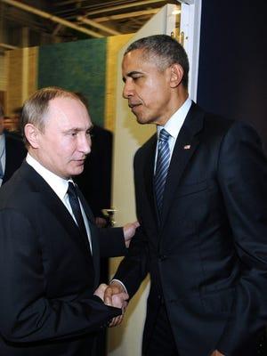 Russian President Vladimir Putin and President Obama in Paris in 2015.