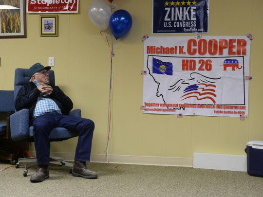 Don Jacobs looks on as election night results come in at the Cascade County Republican Central Committee, Tuesday night.