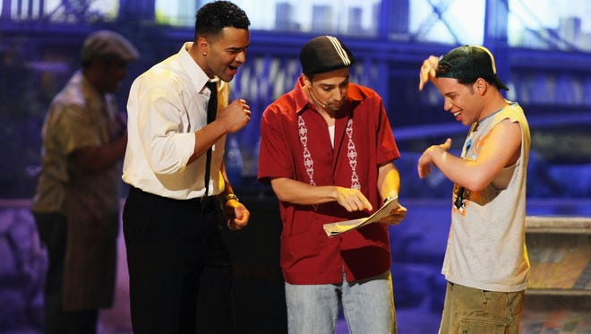 """""""In the Heights"""" creator Lin-Manuel Miranda (center) and cast perform onstage during the 2008 Tony Awards in New York City."""