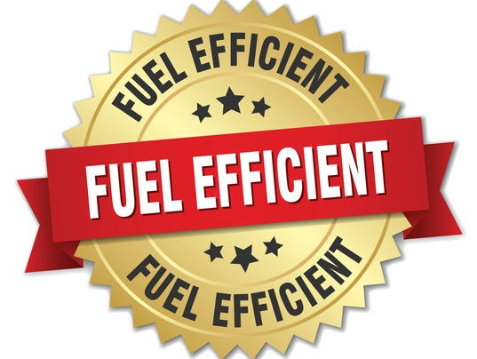 fuel efficient 3d gold badge with red ribbon
