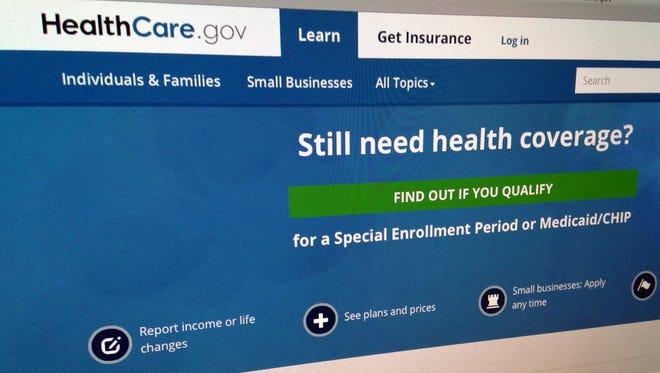 The HealthCare,gov website in Washington.