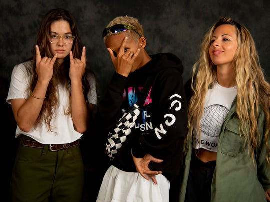 """""""Skate Kitchen"""" stars Rachelle Vinberg, left, and Jaden Smith, center, pose for a portrait with writer/director Crystal Moselle."""