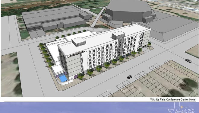 This is a conceptual drawing of a DoubleTree by Hilton hotel and conference center next to the Multi-Purpose Events Center in Wichita Falls. The MPEC has seen a lot of changes in recent months, from being overseen by a new management company, to a new executive chef, the addition of several concerts and big conventions, improved Wi-Fi connectivity and the possibility of a hotel and convention center near the MPEC.