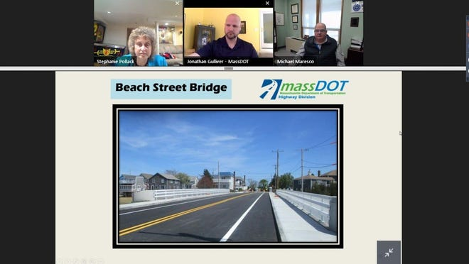 Officials meet for the virtual ribbon cutting of the new Beach Street Bridge in Marshfield.