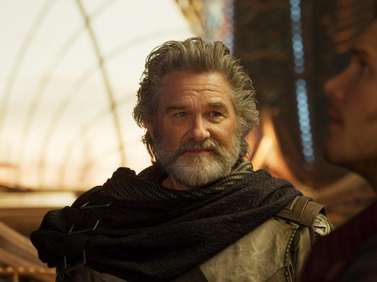 "Ego (Kurt Russell) and Star-Lord/Peter Quill (Chris Pratt) in ""Guardians Of The Galaxy Vol. 2."""