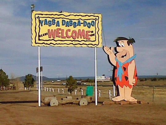 The welcome sign at the Flintstone's Bedrock City in