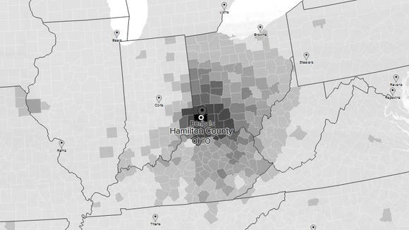 Bengals fans in Ohio based on Twitter followers.