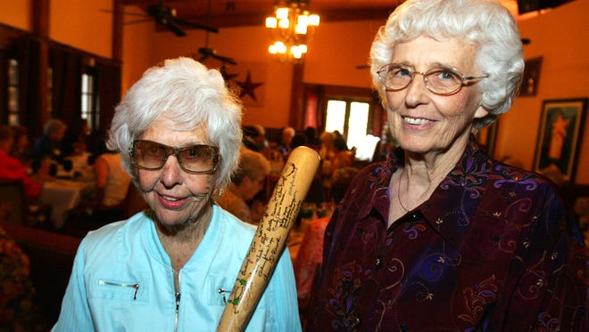 Two players from the All American Girls Professional Baseball League, Maybelle Blair (left), who pitched for the Peoria Red Wings and Shirley Burkovich, who played for the Rockford Peaches were the guest speakers at the Women's Club of Indio luncheon in this 2007 file photo.
