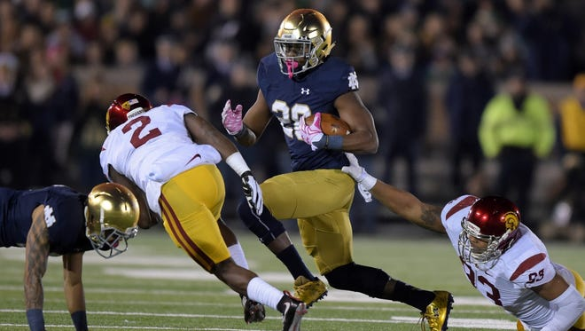 Notre Dame running back C.J. Prosise had 143 yards rushing and two touchdowns against USC.