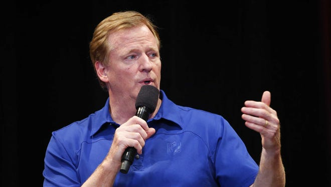 NFL commissioner Roger Goodell answers questions at University of Phoenix Stadium in Glendale, Ariz. August 14, 2017. Goodell spoke to a group of Cardinals club seat holders before training camp practice.