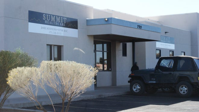 The entrance to Summit Healthcare at 722 E. Florida Street, adjacent to Peppers Supermarket.