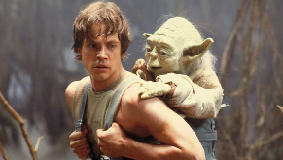Luke Skywalker (Mark Hamill) gets some lessons in the