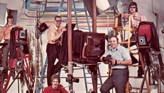 Pros at Hayman Studio mug for the camera at the North York commercial photographer's quarter-century mark in the late 1970s.