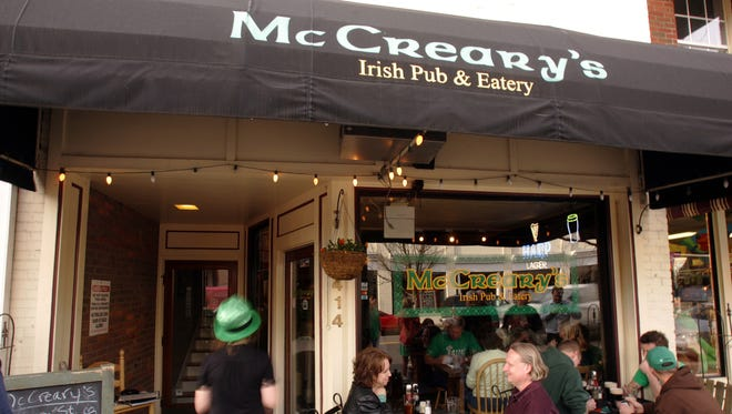 Patrons enjoy the weather at McCreary's Irish Pub in Franklin