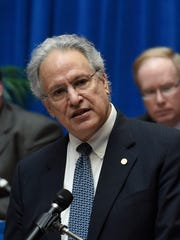 National Highway Traffic Safety Administration Administrator Mark Rosekind speaks at the start of a public NHTSA meeting on what the government's policies should be regarding self-driving cars, Friday, April 8, 2016.
