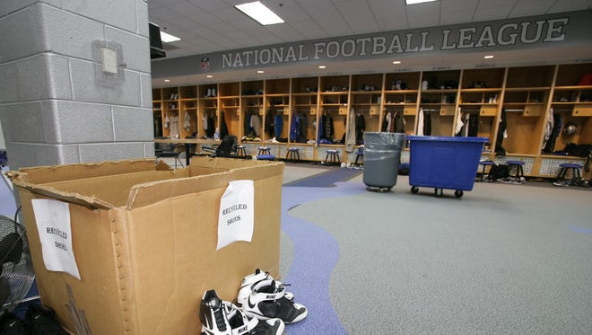 The Detroit Lions' locker room in Allen Park in 2009.