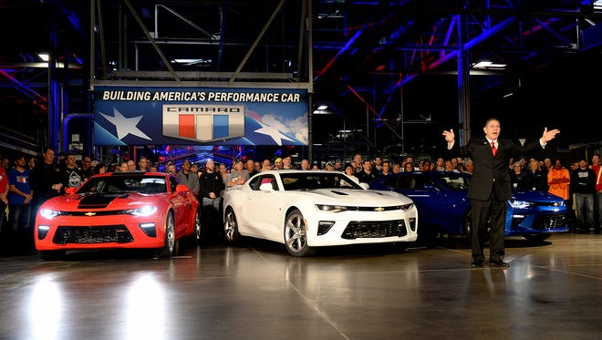 "Lansing Mayor Virg Bernero talks about the new 2016 Chevrolet Camaro at an unveiling ceremony at GM's Lansing Grand River Assembly plant on Monday. Bernero said he was very proud of the cars being produced in the city saying ""There isn't a mayor in the country, who wouldn't want to be me."""